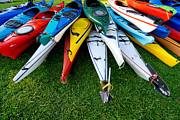 Vibrant Color Posters - A Stack of Kayaks Poster by Amy Cicconi