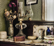 Oil Lamp Prints - A Step Back in Time Print by Peggy Dietz