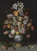 Wan-li Prints - A Still Life of Flowers in a Wan-Li Vase Print by Ambrosius Bosschaert the Elder