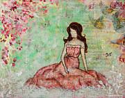 A Still Morning Folk Art Mixed Media Painting Print by Janelle Nichol