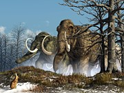 Prehistoric Digital Art Metal Prints - A Storm of Mammoths  Metal Print by Daniel Eskridge
