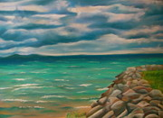 Chicago Pastels Prints - A Storm Rolling In Print by Kathryn Kerekes
