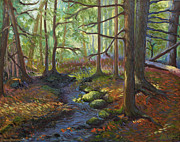 Fall Trees With Stream. Art - A Stream of Light by Alison Barrett Kent