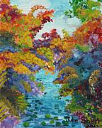 Landscap Painting Originals - A Stream Running Under by Julie Shen