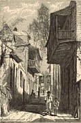 Horse And Buggy Drawings Posters - A Street in St. Augustine 1872 Engraving Poster by Antique Engravings