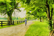 Colonial Scene Prints - A Stroll Along the Bluegrass Print by Darren Fisher