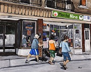 Quebec Streets Paintings - A Stroll Down Wellington Street in Verdun by Reb Frost