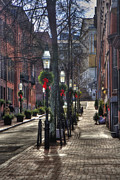Gas Lamps Prints - A Stroll in Beacon Hill Print by Joann Vitali