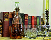Decanter Prints - A Strong Drink and a Good Book Print by Paul Ward