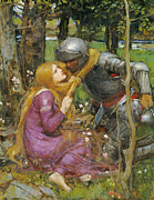 Medieval Painting Posters - A study for La Belle Dame sans Merci Poster by John William Waterhouse