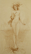British Drawings Prints - A Study for The Birth of Love Print by Solomon Joseph Solomon