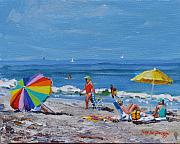 Beach Scene Framed Prints - A Summer Framed Print by Laura Lee Zanghetti