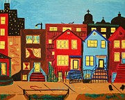 Downtown Pastels Posters - A Summer Night Poster by Gina Alequin