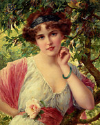 Women Children Framed Prints - A Summer Rose Framed Print by Emile Vernon