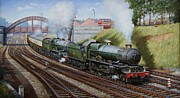 Steam Train Paintings - A summer Saturday in the West. by Mike  Jeffries