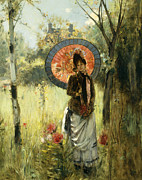 Sun Umbrella Posters - A Summer Stroll Poster by Albert Lynch
