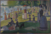 La Grande Jatte Painting Framed Prints - A Sunday on La Grande Jatte Framed Print by Georges Seurat