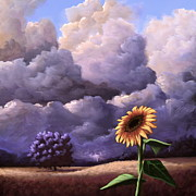 Thunder Paintings - A Sunflower Among The Storm by Ric Nagualero