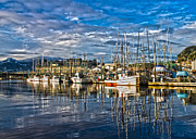 Boats At Dock Photo Posters - A sunny day at the harbor Poster by Timothy Latta