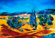 Provence Village Painting Prints - A Sunny Day in Provence Print by Elise Palmigiani