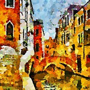 Cities Painting Framed Prints - A sunny day in Venice Framed Print by Dragica  Micki Fortuna