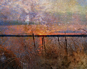 Cross Digital Art Prints - A Sunrise To Remember Print by J Larry Walker