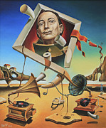 Salvador Dali  Paintings - A Surreal Simulacrum of Salvador Dali by Dragomir Minkov