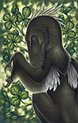 Leaves In Hair Posters - A Suspicious Deinonychus Antirrhopus Poster by H. Kyoht Luterman