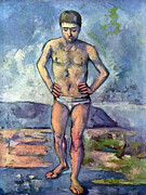 John Peter Posters - A Swimmer by Cezanne Poster by John Peter