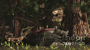 Food Chain Digital Art Posters - A T-rex Returns To His Kill And Finds Poster by Arthur Dorety