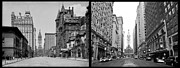 Phila Digital Art Posters - A Tail of Two Cities - South Broad Then and Now Poster by Bill Cannon