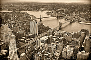 Brooklyn Bridge Prints - A Tale of Two Bridges 2 Print by Joann Vitali
