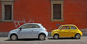 Fiat 500 Framed Prints - A Tale of Two Fiats Framed Print by Tamas Virag