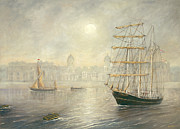 Subtle Colors Prints - A Tall Ship on the Thames at Greenwich Print by Eric Bellis