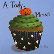 Halloween Folk Art Posters - A Tasty Morsel Poster by Catherine Holman