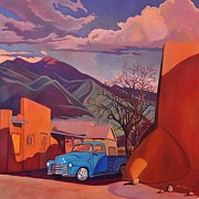 Taos Posters - A Teal Truck in Taos Poster by Art West