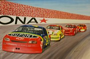 Historic Nascar Posters - A Team Victory Poster by Stacy Bottoms