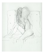 Two Ladies Drawings - A Tender Moment by Joseph Wetzel