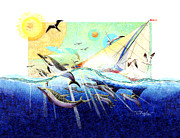 Whale Painting Posters - A Tern with the Dolphins Poster by David  Chapple