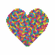 Tetris Video Game Posters - A Tetris Heart Poster by Stephen Gowland