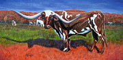 Steer Paintings - A Texas Longhorn Steer by Lisa Browning