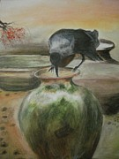 A Summer Evening Landscape Painting Metal Prints - A Thirsty Crow Metal Print by Prasenjit Dhar
