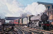 Old Houses Painting Prints - A Thompson B1 Class Moving Empty Stock on a Cold February Morning Print by David Nolan