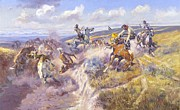 Ranchers Paintings - A Tight Dally and Loose Latigo by Pg Reproductions
