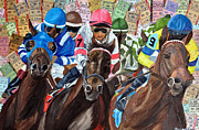 Churchill Downs Mixed Media Prints - A Tight Start Print by Michael Lee