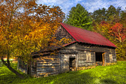 Tennessee Barn Prints - A Touch of Red in Autumn Print by Debra and Dave Vanderlaan
