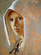 Earring Framed Prints - A Touch of Vermeer Based on the film The Girl With the Pearl Earring  Framed Print by Joan Butler Gore