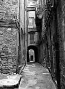 Narrow Streets Prints - A Town In Tuscany 3 bw Print by Mel Steinhauer