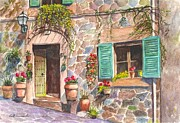 Mediterranean Drawings Framed Prints - A Townhouse in Majorca Spain Framed Print by Carol Wisniewski