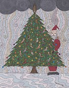 Evergreen Drawings Posters - A  Tree for Christmas Poster by Pamela Schiermeyer